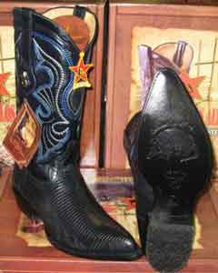 Altos Genuine Lizard Ring Western Cowboy Boot Navy Blue