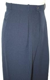 Blue Wide Leg Slacks Pleated baggy dress trousers unhemmed unfinished bottom