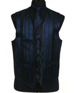 Tuxedo Wedding Vest/Tie/Bowtie Sets (Navy Blue-Black Combination)