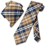 Brown White NeckTie & Handkerchief Matching Tie Set