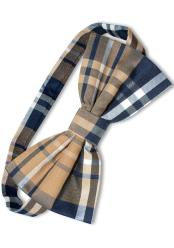 Plaid Pattern Polyester Navy/Brown/White Tuxedo Bowtie