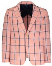 Boys Single Breasted Plaid Designed Notch Lapel Navy checkered check pattern suit Linen Blazer
