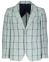 Boys 2 Button Plaid Designed Notch Lapel Navy checkered check pattern suit Linen Blazer