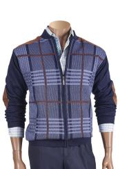 Checked Zipper Front Sweater