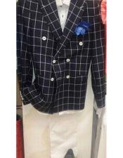 Alberto Nardoni Brand Black Wool Double breasted Plaid ~ Window Pane Blazer ~ Sport Coat Jacket