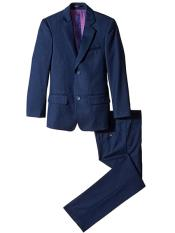 children Boys Navy Slim Linen/Cotton Notch Lapel 2 Piece Cut Suit