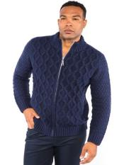Mens Full Zip Classic Knit Mock Neck Pullover Available in Big