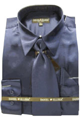 Cheap Sale Mens New Navy Satin Dress Shirt Tie Combo Shirts