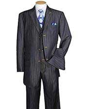 Stripe ~ Pinstripe Peak Lapel Vested 3 Piece Dark Navy Cheap Business Suits Clearance Sale pleated pants