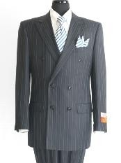 Stripe ~ Pinstripe Mens Dark Navy Double Breasted Suit