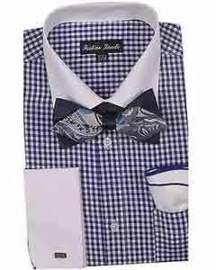 White Collar Navy Two Toned Contrast Gingham Shirt