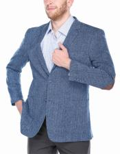 Mens 2 Button Single Breasted Navy~Light Blue 100% Wool Blazer