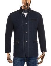 Mens Navy Button Up Closure Mandarin Collar Long Wool Coat