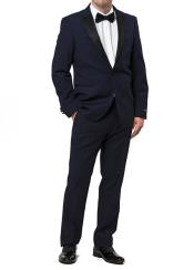 Two Toned Peak Lapel Regular Fit Two Piece Dark Navy ~