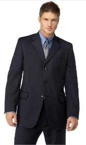 Mens Navy 3 Button Polyester affordable suit online sale
