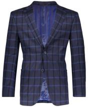 Navy Slim Fit Plaid ~ Windowpane
