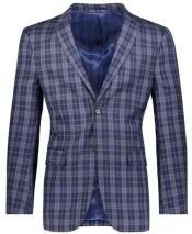 Fit Navy Plaid ~ Windowpane ~ Checker Mens Blazer