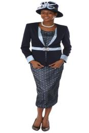 Couture Promotional Ladies Suits- Dark Navy With Light Blue