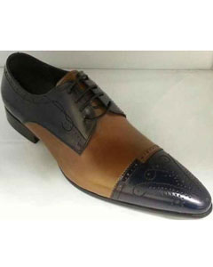 Brand Mens Leather Footwear Unique Hand Stitching Navy/Tan