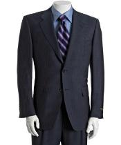 Dark Navy Blue Suit For Men Pinstriped ~ Stripe Wool feel rayon fabirc 2-Button Suit With Single
