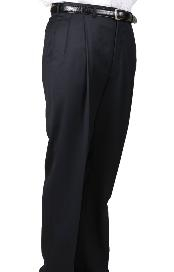Worsted Wool Navy Parker Pleated Pants Lined Trousers unhemmed unfinished bottom