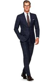 2 Button 100% Wool Windowpane checkered check pattern Dark Navy Slim