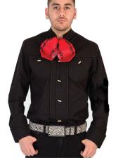 Mens Long Sleeves Solid Pattern casual Negro Cowboy Shirt
