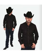 Mens High Collar Fashion Negro Long Sleeves Solid Pattern Cowboy Shirt