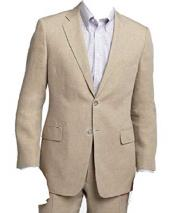 Mens Beige/Natural Two Piece Linen Summer Double Vents Suit