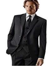 Groomsman Trimmed Notch Lapel Classic Fit Black Tuxedo Vested Suit