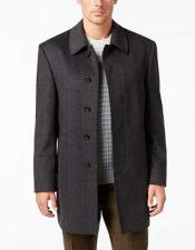 King Mens Dress Coat Herringbone 5 Button  Wool Blend Charcoal
