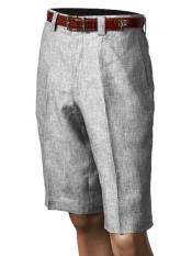 Mens Off White Pleated 100% Linen Flat Front Shorts