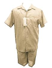 Mens 100% Linen Off White Shirt And Shorts Two Piece Casual Casual Two Piece Walking Outfit For