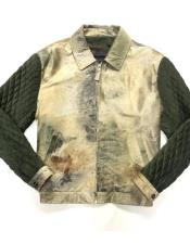 Mens Olive/Cream Quilted Pony Hair Zipper Closure Bomber Jacket