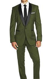 Braveman Mens Olive Green Satin Shawl Lapel Solid Pattern 1 Button Tuxedo Suit