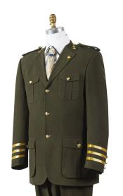 Mens Olive Military Style Pocket Fashion Suit