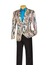 Mens 1 Button Slim Fit Multi Exotic Abstract Pattern SportCoat Blazer