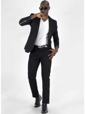 Black 1 Button Notch Lapel Slim Fit Unvented Sport Coat