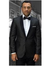 Mens Statement Confidence 1 Button fancy dotted Design Black With Gold Modern Fit Dinner Jacket