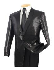 Sequin 1 Button Black Side Vents Classic Fit Dinner Jacket