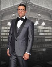 One Button Classic Three Piece Sharkskin Suit With Solid Black Satin Shawl Collar Blue