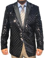 Mens Black Sequin ~ Shiny ~ Paisley Sport Coat Fashion Blazer