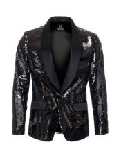 Mens high fashion Black ~ Silver sequin blazer