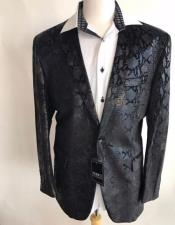 Mens Black sequin One Button jacket Snakeskin print fashion blazer