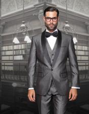 One Button Classic Three Piece Sharkskin Suit With Solid Black Satin Shawl Collar Gray