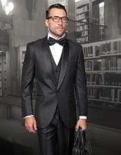 Mens One Button Classic Three Piece Suit With Solid Shawl Collar And