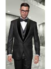 One Button Statement Confidence Wynn Modern Fit 3 Piece Shiny Black Tuxedo