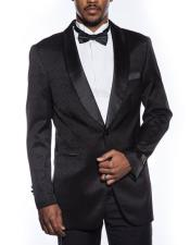 Mens black tuxedo jacket fancy designed pattern prom wedding blazer