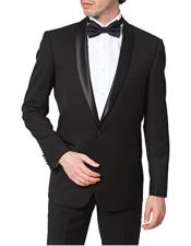 Fiorelli Mens Regular Fit One Button Shawl Collar Formal Black Tuxedo Suit