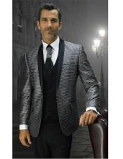 Mens Single Breasted 1 Button Black Modern Fit Shawl Lapel Vested Suit